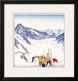 Switzerland, VII Summer Glacier Ski Framed Giclee Print by Emil Cardinaux