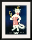 Cat and Cosmetic Mirror Framed Giclee Print