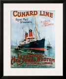 Cunard Line, Liverpool to New York Framed Giclee Print by R.m Neville Cumming