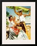 Señorita on Beach with Banana Leaf Framed Giclee Print