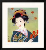 Japanese Geisha in Fall Leaves Framed Giclee Print
