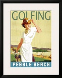 Golfing Pebble Beach Framed Giclee Print