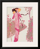 Woman In Pink Dress Framed Giclee Print by Georges Barbier
