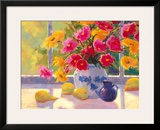 Green Pears and Cosmos Framed Giclee Print by Suzanne Hoefler