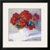 Red Geraniums Framed Giclee Print by B. Oliver
