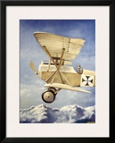 WWI, German Fokker Biplane Framed Giclee Print by Robert Mascher