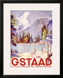Gstaad Swiss Ski Resort Framed Giclee Print