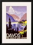 Davos Swiss Alps Ski Resort Framed Giclee Print