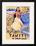 Tahiti Wahine Hula Dance Framed Giclee Print