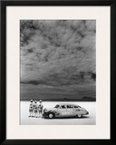 Hudson Hornet, Salt Flat Racer Framed Giclee Print by David Perry