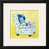 Bulldog on Polka Dots Prints by Carol Dillon