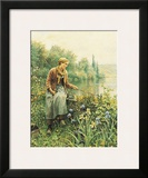 Girl Fishing Art by Daniel Ridgway Knight