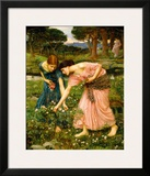 Gather Ye Rosebuds While Ye May Framed Giclee Print by John William Waterhouse