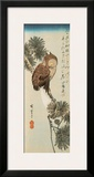 A Little Brown Owl on a Pine Branch with a Crescent Moon Behind Framed Giclee Print by Ando Hiroshige