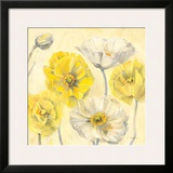 Gold and White Contemporary Poppies II Print by Carol Rowan