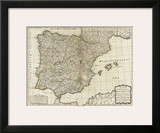 New Map of the Kingdoms of Spain and Portugal, c.1790 Prints by Thomas Kitchin