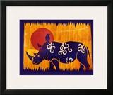 Woodblock Rhino Posters by Benjamin Bay