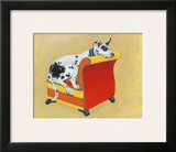 Great Dane on Orange Print by Carol Dillon