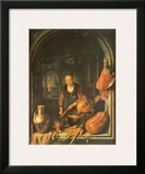 Woman Cleaning Carrots Poster by Gerard Dou