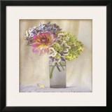 Dahlia with Hydrangeas II Art by Sally Wetherby
