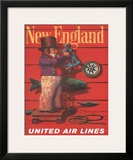 United Air Lines: New England, c.1955 Framed Giclee Print by Stan Galli