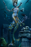 Mermaid Hunt by Tom Wood Plastic Sign Wall Sign