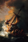 Rembrandt Christ in the Storm on the Lake Genezareth Plastic Sign Plastic Sign by  Rembrandt van Rijn