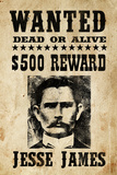 Jesse James Wanted Advertisement Print Plastic Sign Plastic Sign