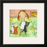 Girl with Cats Print by Carla Sonheim