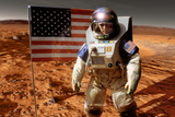 Astronaut on Mars with US Flag, Artwork Prints by Detlev Van Ravenswaay