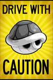 Drive With Caution Shell Plastic Sign Targa di plastica