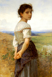 William-Adolphe Bouguereau The Young Shepherdess Plastic Sign Wall Sign by William Adolphe Bouguereau
