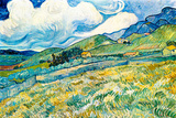 Vincent Van Gogh Mountain Landscape behind the Hospital Saint-Paul Plastic Sign Plastic Sign by Vincent van Gogh