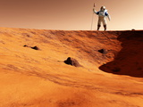 Astronaut on Edge of Martian Crater Photographic Print by Detlev Van Ravenswaay