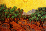 Vincent van Gogh - Vincent Van Gogh Olive Trees with Yellow Sky and Sun Plastic Sign Plastové cedule