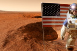 Astronaut on Mars with US Flag, Artwork Photo by Detlev Van Ravenswaay