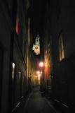 Stockholm Sweden Cobblestone Street At Night Plastic Sign Plastic Sign