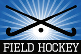 Field Hockey Crossed Sticks Blue Sports Plastic Sign Plastic Sign
