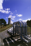 Pipes & Cooling Tower At Geothermal Power Station Prints by Jeremy Walker