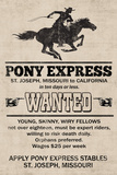 Pony Express Replica Recruitment Advertisement Print Plastic Sign - Plastik Tabelalar