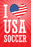 I Love USA Soccer (World Cup, Red) Sports Plastic Sign Wall Sign