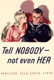 Tell Nobody Not Even Her Careless Talk Costs Lives WWII War Propaganda Plastic Sign Znaki plastikowe