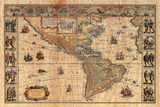 Old World Map Plastic Sign Wall Sign