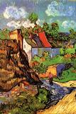 Vincent Van Gogh Houses in Auvers Hillside Plastic Sign Plastikskilte af Vincent van Gogh
