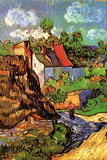 Vincent Van Gogh Houses in Auvers Hillside Plastic Sign Wall Sign by Vincent van Gogh