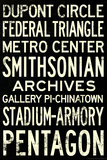 Washington DC Metro Stations Vintage RetroMetro Travel Plastic Sign Wall Sign