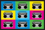 Boombox Stereos 2 Pop Plastic Sign Wall Sign