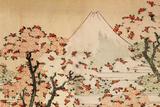 Katsushika Hokusai Mount Fuji Behind Cherry Trees and Flowers Plastic Sign Plastikskilte af Katsushika Hokusai