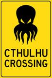Cthulhu Crossing Creature Print Plastic Sign - Plastik Tabelalar