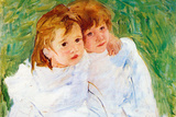 Mary Cassatt The Sisters Plastic Sign Plastic Sign by Mary Cassatt